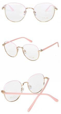 00a2208a8ce1 Retro Bicolor Metal Circle Optical Frames Pink Gold-Tone Retro Look