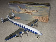Vintage Joustra Super G Constellation Tin Friction Airplane Air France In Box