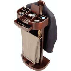 Mens Valet - Deluxe Standing Valet with Tray in Mahogany : Fathers Day | Organize.comShop His Style | Organize.comView All | Organize.com