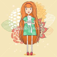 depositphotos_47748231-Girl-with-little-white-cat-on-abstract-floral-background.-Vector-cute-illustration.jpg (450×450)