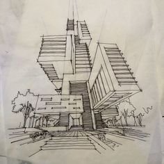 art and sketches Architecture Sketchbook, Architecture Graphics, Architecture Details, Architecture Design, Landscape Architecture, House Sketch, House Drawing, Sketches Arquitectura, Plan Sketch