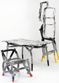 """Examples of finished objects by Silo Studio, in this case a suite of furniture the duo exhibited at last year's Milan Furniture Fair. Aparicio and Wanless call their proprietary take on styrofoam """"NSEPS""""—for """"Not-So-Expanded-Polystyrene""""—for reasons you'll discover in the following slides."""