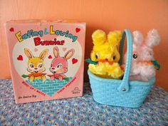 Vintage Eating and Loving Bunnies Wind Up Toy Japan 1960's