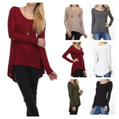 Womens-Casual-Scoop-Neck-Long-Sleeve-Hi-Low-Hem-Tunic-Top-Solid-Knit-T-Shirt
