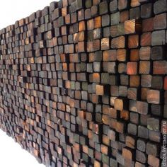 Colored and Burnt Wooden Wall Sculpture - Smoke Damaged Stack - Blackened Earth Tones. For Bar front