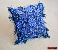 """Black & Blue Floral Decorative Cushion Cover 18x18"""" - Peruvian Embroidered Pillow """"Magic Blue""""- Interior Decoration - Sheep wool Pillow case by DECORCONTRERAS on Etsy https://www.etsy.com/au/listing/289658523/black-blue-floral-decorative-cushion"""