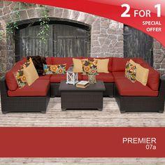 TKC Premier 7 Piece Outdoor Wicker Patio Furniture Set - Terracotta 07A 2 Yr Fade Warranty