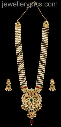Kundan Neckalce With Pearls And Peacock Design Picture
