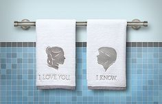 Han and Leia bath towels. | 21 Valentine's Gifts They'll Actually Want To Receive