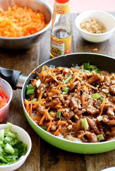 Hoisin Pork + Rice Noodles < this looks so yummy.
