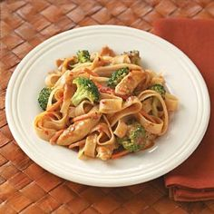 Tried this tonight - so good!  Just used fettuccine noodles and green beans instead of broccoli.  Even the kids liked it! Nom! Nom!