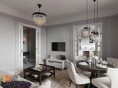 Фото дизайн интерьера гостиной из проекта «Интерьер двухкомнатной квартиры в стиле американской классики, 68 кв.м.»