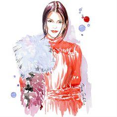 Kendall Jenner by Irina Sibileva ---------------------------------------------------- #KendallJenner #IrinaSibilevaDraws #fashionillustration #fashionillustrator