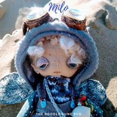 Milo a one of a kind little steampunk sand doodle dune bug Dee Day, Pixie Ears, Leather Braces, Felt Boots, Bug Art, Little Doodles, White Wings, Dune, Art Dolls