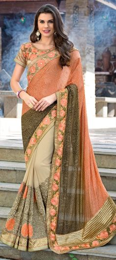 709050 Beige and Brown, Orange  color family Embroidered Sarees, Party Wear Sarees in Art Silk, Faux Chiffon fabric with Lace, Machine Embroidery, Resham, Thread work   with matching unstitched blouse.