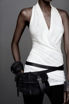 Rice halter tank and comfy black pants accessorized with the leather weave belt bag in washed black