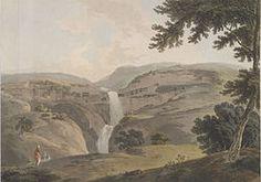 Ellora Caves - mountain of Ellora, by Thomas Daniell (1803).