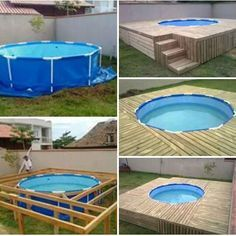 21 Easy and Inexpensive Floating Deck Ideas For Your Backyard Plastic pool with wooden deck Designs Swimming Pool Decks, Small Backyard Pools, Diy Pool, Small Pools, Backyard Ideas, Small Patio, Pool And Deck Ideas, Piscina Diy, Above Ground Pool Decks