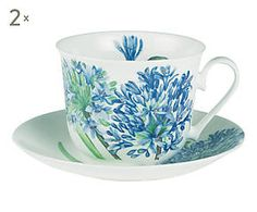 2 Tasses à thé AGAPANTHUS porcelaine, multicolore - 450 ml