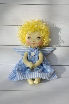 angel doll. textile doll by NilaDolss on Etsy
