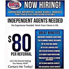 We're Hiring!! Make $240 - $3000/Every Friday with Motor Club Of America working online! Earn $80 each person you refer! Make from $40000 - $100000/Yearly You'll need $40 on a Bank Debit/Credit Card  No Prepaids! #MotorClubOfAmerica #NoJobLifestyle www.livingthemcalifestyle.com