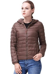Miya Women's Packable Ultra light Weight Short Down Jacket Coat Hooded-Coffee Small. 90% DUCK DOWN: The high standard of 90% white duck down,Fabrics and Materials are used in high-grade 100% nylon,The wear resistance of nylon,Moisture absorption is very good. In the indoor outdoor sports is a very good choice,It will bring you enjoy.Size of China, please look at the description size. ONLY A LEMON SO WEIGHT: Due to the use of 90% pure feather filling,A piece of clothing weighs only in...