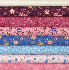 Weekly Special 50% Off Retail and Free Shipping!  Eight Pink and Blue Fat Quarters, Fat Quarter Bundle, Fabric on Sale by fabric406 on Etsy