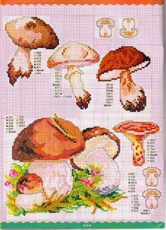 Grande raccolta di schemi a punto croce a tema Funghi