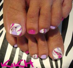 pedicure - summer - nail art - purple -pink- bling -white