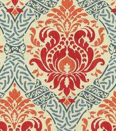 Home Decor Print Fabric- Waverly Dressed Up Damask/Poppy,  -- probably too busy, but I like the orange and blue.