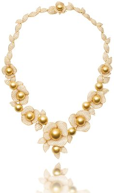"""""""Tropics"""" necklace - South Sea golden pearls, diamonds and 18k yellow gold. Part of a suite that includes earrings and a ring."""