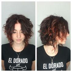 Curly hair cut and color.
