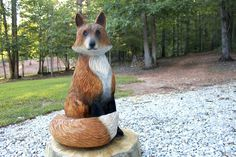 Red Fox Vixen Wood Chainsaw Sculpture by SleepyHollowArtists Abstract Sculpture, Wood Sculpture, Bronze Sculpture, Chainsaw Wood Carving, Carving Wood, Paper Mache Animals, Hollow Art, Maori Art, Wood Carving Patterns