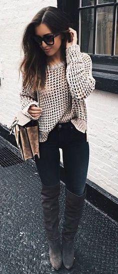 #winter #fashion / knit + OTK boots