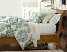 #potterybarn - like the off white bedding - cotton and embroidered - so comfy looking