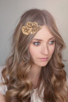 Gold Flower Halo Headband by White Truffle