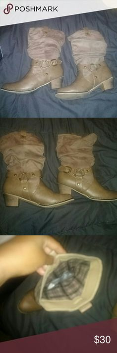 Taupe color worn less 10 times very clean n box Very cute cow girl boots Shoes Ankle Boots & Booties
