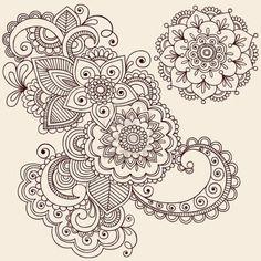 Hand-Drawn Intricate Abstract Flowers and Mandala Mehndi Henna Tattoo Paisley Doodle - Illustration Stock Photo
