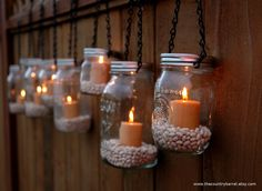 mason jar hangers | Mason Jar Lanterns Hanging Tea Light by TheCountryBarrel on Etsy
