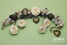 Jewellery with peonies from polymer clay