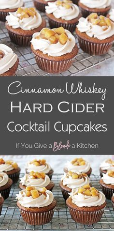Hard cider cupcakes with cinnamon whisky frosting are filled with flavorand alcohol Fireball and Angry Orchard are infused in this spiced cupcake recipe haleydwilliams Fireball Cupcakes, Alcoholic Cupcakes, Cocktail Cupcakes, Alcoholic Desserts, Köstliche Desserts, Delicious Desserts, Dessert Recipes, Cupcakes With Alcohol, Desserts With Alcohol