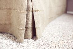 This burlap bed skirt looks so beachy.  I love the texture.  The color would look great with blue.