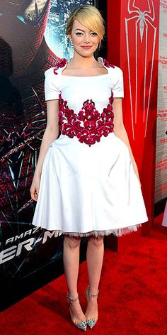 Emma Stone in structured white Chanel dress with floral embroidery at LA premiere of 'The Amazing Spider-Man'