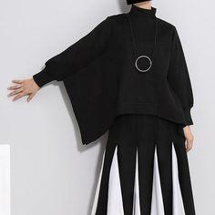 Cao Crop Batwing Sweatshirt - Black