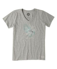 Loving this Heather Gray Engraved Daisy Crusher V-Neck Tee on #zulily! #zulilyfinds