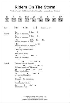 Guitar Chords And Lyrics, Easy Guitar Songs, Song Lyrics, Guitar Chord Chart, Guitar Tabs, Music Guitar, Guitar Songs For Beginners, Jazz Songs, Riders On The Storm