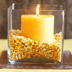 Dried Corn & Candle Display