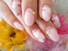 Gentle rose half-moon manicure with nail gems :: one1lady.com :: #nail #nails #nailart #manicure