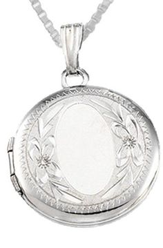 0.925 Sterling Silver Round Locket Charm Pendant Necklace US Jewels And Gems. Pretty and elegant.