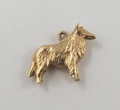 Collie Dog 10K Gold Vintage Charm For Bracelet by SilverHillz